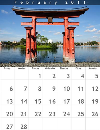 February 2011 8.5x11 Calendar