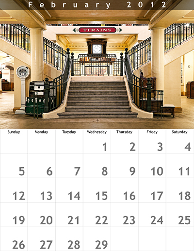February 2012 8.5x11 Calendar