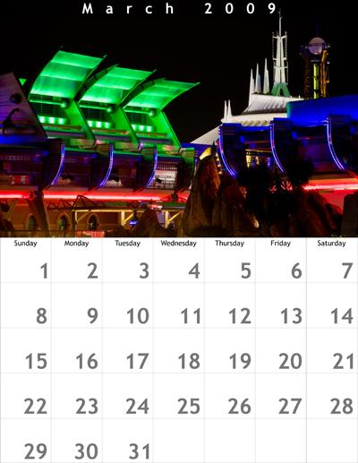 March 2009 8.5x11 Calendar