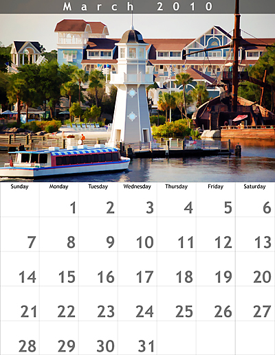 March 2010 8.5x11 Calendar