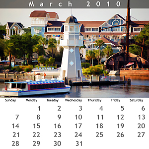 March 2010 Jewel Case Calendar