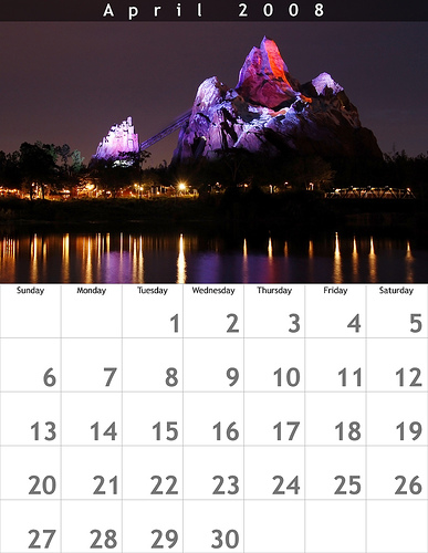 April 2008 8.5x11 Calendar