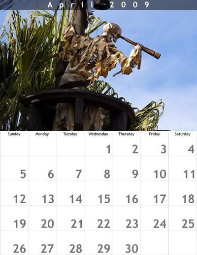 April 2009 8.5x11 Calendar
