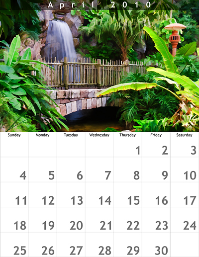 April 2010 8.5x11 Calendar
