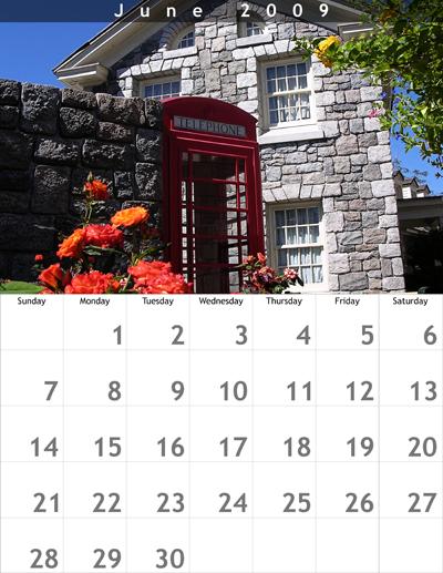 June 2009 8.5x11 Calendar