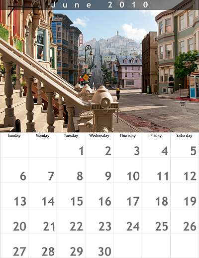 June 2010 8.5x11 Calendar