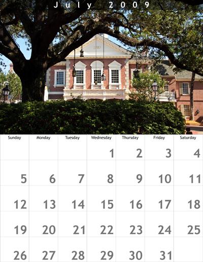 July 2009 8.5x11 Calendar
