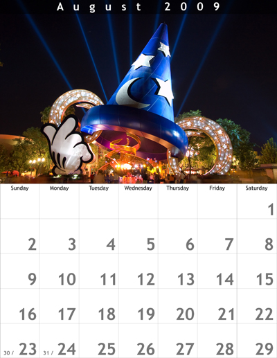 August 2009 8.5x11 Calendar