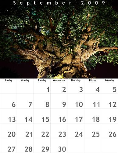 September 2009 8.5x11 Calendar