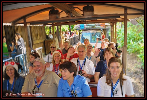 A jeep full of All Ears photowalk attendees on the Kilimanjaro Safari in Disney's Animal Kingdom, Walt Disney World, Orlando, Florida