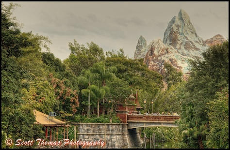 Expedition Everest from the bridge to Africa in Disney's Animal Kingdom in HDR, Walt Disney World, Orlando, Florida