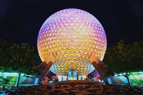 Nighttime HDR of Spaceship Earth in Epcot's Future World, Walt Disney World, Orlando, Florida