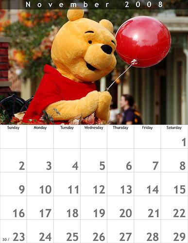 November 2008 8.5x11 Calendar