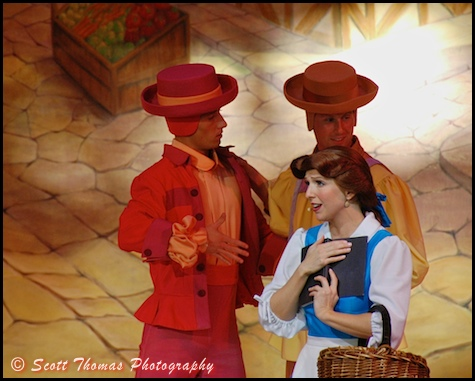 Belle singing during the opening number of Beauty and the Beast, Live on Stage in Disney's Hollywood Studios, Walt Disney World, Orlando, Florida