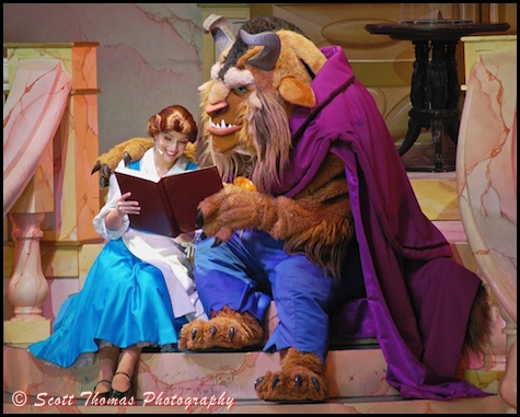 The library scene with Belle and the Beast in the Beauty and the Beast, Live on Stage in Disney's Hollywood Studios, Walt Disney World, Orlando, Florida