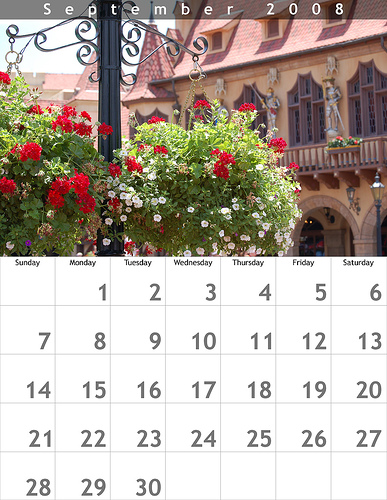 September 2008 8.5x11 Calendar