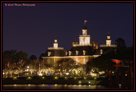 The American Adventure at night in Epcot's World Showcase, Walt Disney World, Orlando, Florida