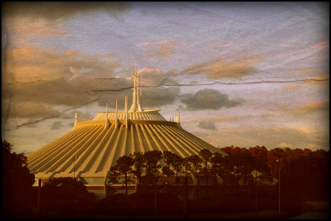 Digitally aged Space Mountain photo taken from the monorail, Walt Disney World, Orlando, Florida.