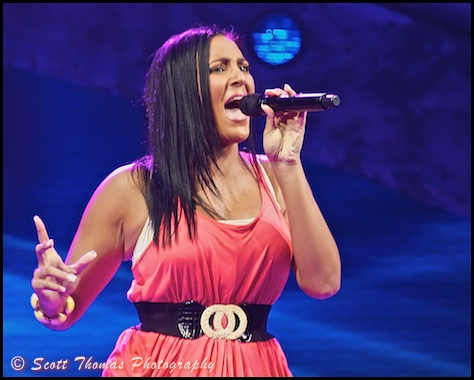 An American Idol Experience contestant performing at Disney's Hollywood Studios, Walt Disney World, Orlando, Florida