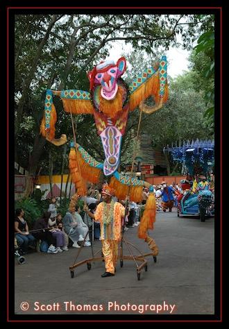 Chimpanzee puppeteer during Disney's Animal Kingdom daily parade, Walt Disney World, Orlando, Florida