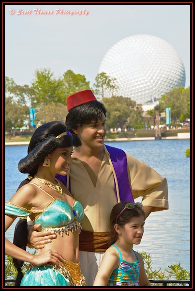 Aladdin with Jasmine in front of Morocco at Epcot's World Showcase,Walt Disney World, Orlando, Florida