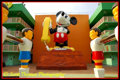 Giant Mickey Mouse phone icon at the Pop Century Resort, Walt Disney World, Orlando, Florida.
