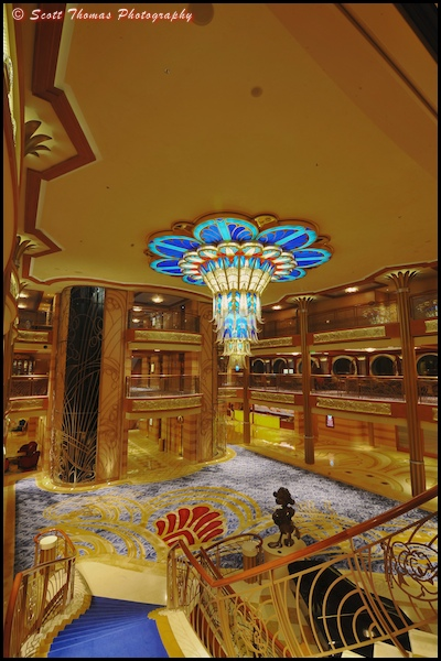 A walk down the Grand Staircase from Deck 4 of the Disney Dream.