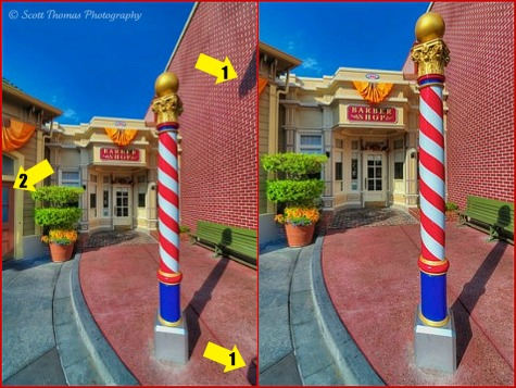 Before and after comparison of the Main Street USA Barber Shop, Walt Disney World, Orlando, Florida