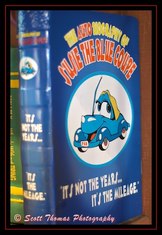 The Auto Biography of Susie the Little Blue Coupe in Mickey's Garage in the Magic Kingdom, Walt Disney World, Orlando, Florida