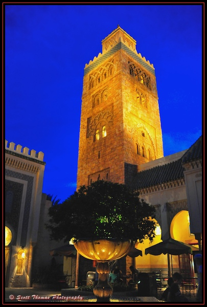 Koutoubia Minaret at night in Epcot's Morocco in the World Showcase,Walt Disney World, Orlando, Florida