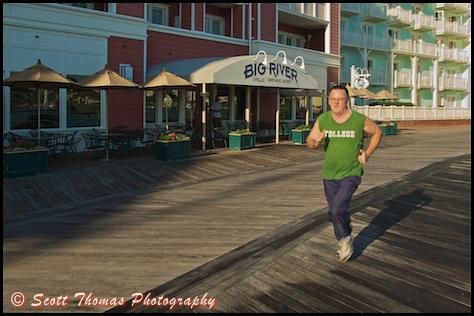 Out for a morning run on Disney's Boardwalk, Walt Disney World, Orlando, Florida