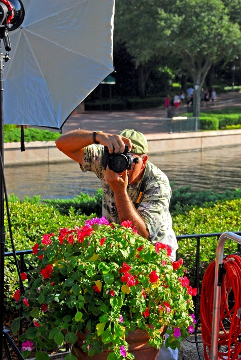 Disney photographer, Bob Desmond, working in Epcot's World Showcase, Walt Disney World, Orlando, Florida