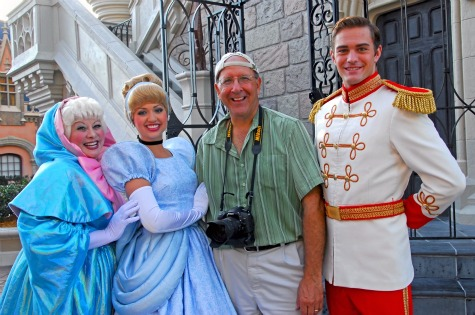 Disney photographer, Bob Desmond, and friends in the Magic Kingdom, Walt Disney World, Orlando, Florida