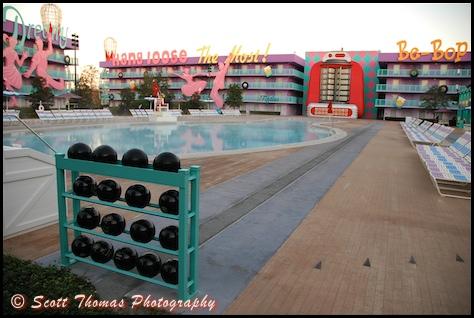 Bowling Pin Pool at the Pop Century Resort, Walt Disney World, Orlando, Florida