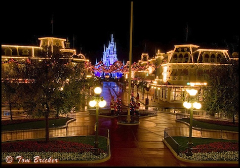 An empty Main Street USA during the Christmas holiday season in the Magic Kingdom, Walt Disney World, Orlando, Florida.