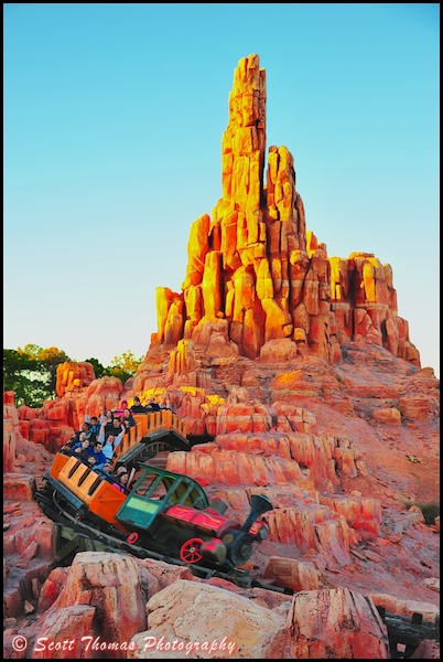 Big Thunder Mountain Railroad thrill ride at sunset in the Magic Kingdom, Walt Disney World, Orlando, Florida.