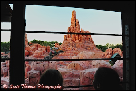 Big Thunder Mountain Railroad being watched from the queue in the Magic Kingdom, Walt Disney World, Orlando, Florida.