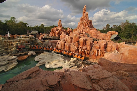 A train returns from it's wild ride on Big Thunder Mountain in the Magic Kingdom, Walt Disney World, Orlando, Florida.