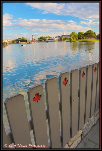 Looking over Canada's fence at World Showcase in Epcot, Walt Disney World, Orlando, Florida