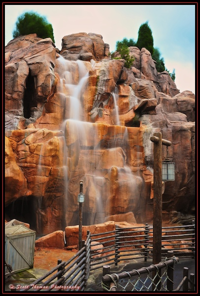Canada's Rocky Mountain waterfall in Epcot with stacked ND filters, Walt Disney World, Orlando, Florida.