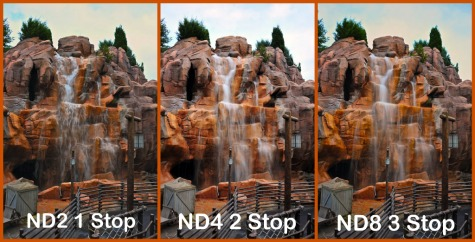 Canada's Rocky Mountain waterfall in Epcot with ND filters, Walt Disney World, Orlando, Florida.