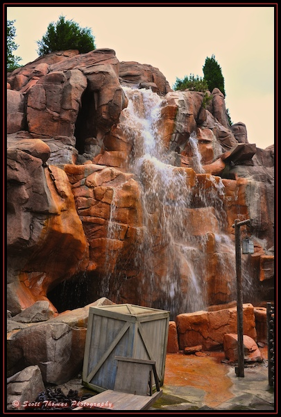 Canada's Rocky Mountain waterfall in Epcot without an ND filter, Walt Disney World, Orlando, Florida.