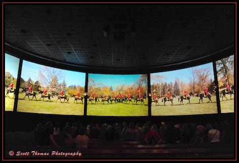 Canadian Mounted Police circling the audience in Epcot's Canada pavilion, Walt Disney World, Orlando, Florida