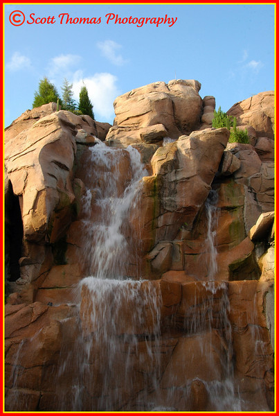 Rocky Mountain waterfall in Epcot's Canadian pavilion, Walt Disney World, Orlando, Florida