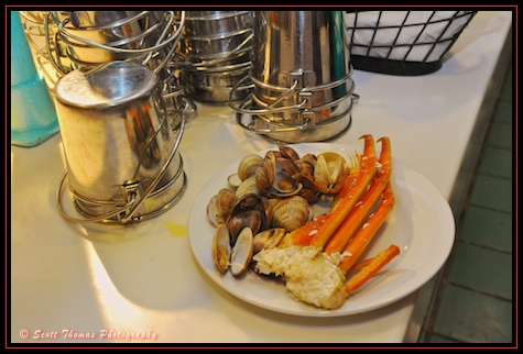 Snow Crab Legs and Steamed Clams from the Cape May Buffet at the Beach Club, Walt Disney World, Orlando, Florida.