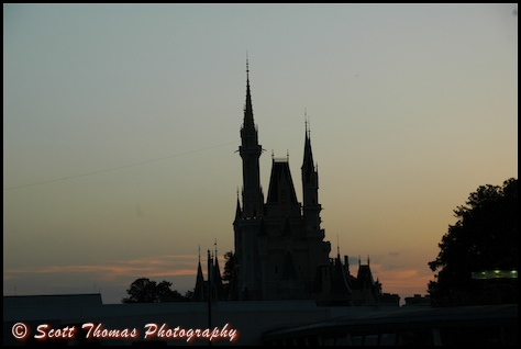 Original photo of Cinderella Castle at dusk in the Magic Kingdom, Walt Disney World, Orlando, Florida