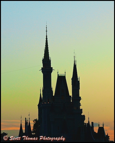 Adjusted photo of Cinderella Castle at dusk in the Magic Kingdom, Walt Disney World, Orlando, Florida