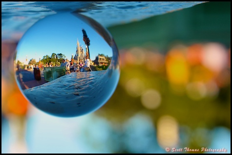 Cinderella Castle through a crystal ball in the Magic Kingdom, Walt Disney World, Orlando, Florida