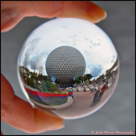 Spaceship Earth as seen through a crystal ball in Epcot, Walt Disney World, Orlando, Florida