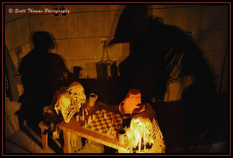 Skeletons playing chess in the Pirates of the Caribbean queue in the Magic Kingdom, Walt Disney World, Orlando, Florida.